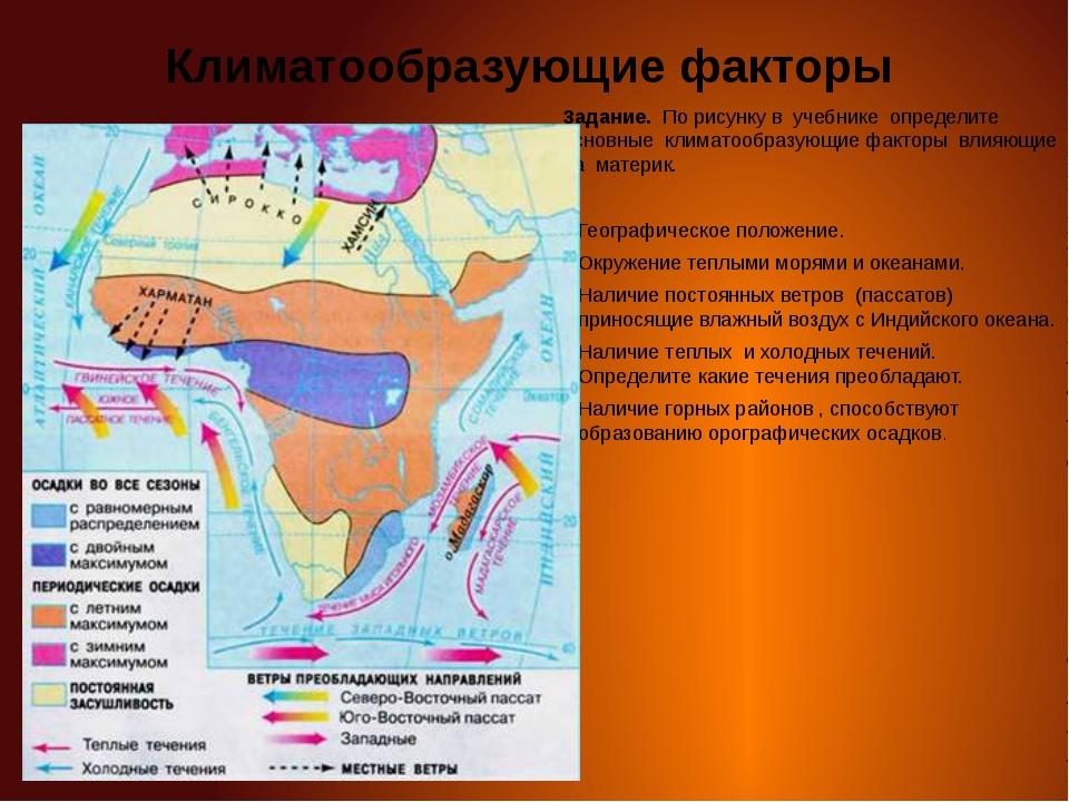 Климатообразующие факторы Задание. По рисунку в учебнике определите основные...