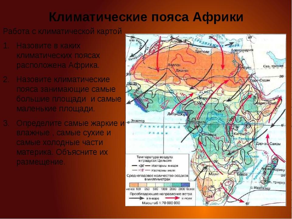 Климатические пояса Африки Работа с климатической картой Назовите в каких кли...
