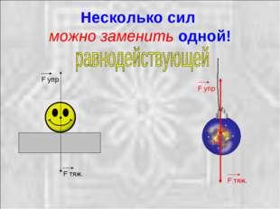 Несколько сил можно заменить одной! F тяж. F упр F тяж. F упр