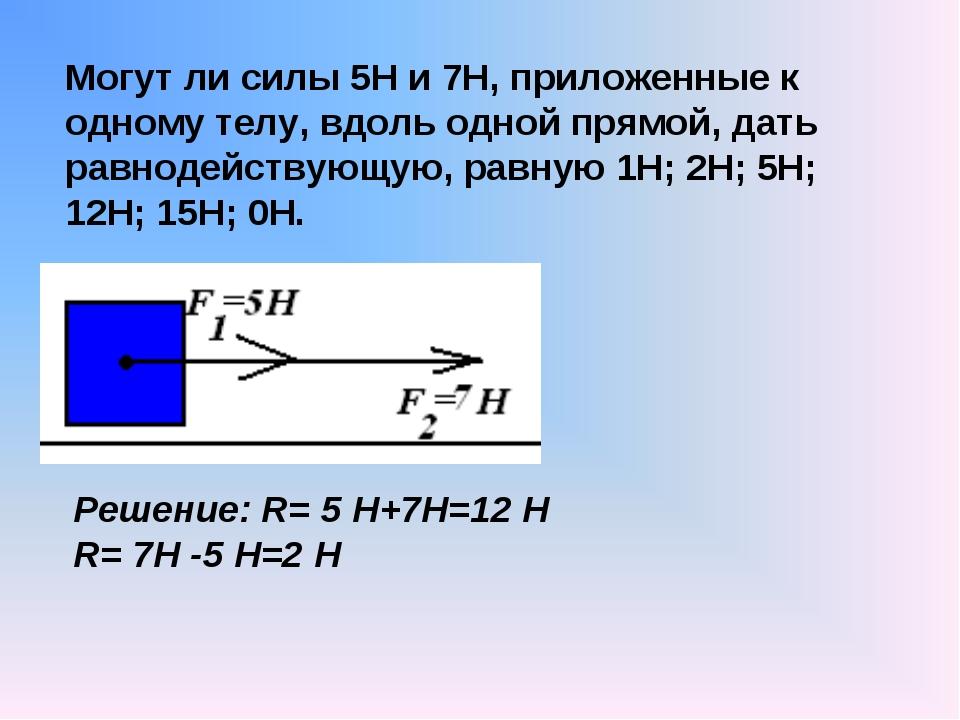 Могут ли силы 5Н и 7Н, приложенные к одному телу, вдоль одной прямой, дать ра...
