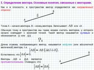 Как и в плоскости, в пространстве вектор определяется как направленный отрезо
