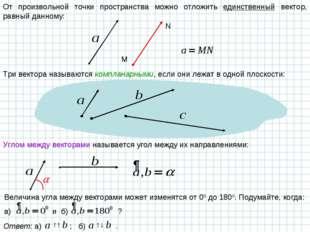 От произвольной точки пространства можно отложить единственный вектор, равный
