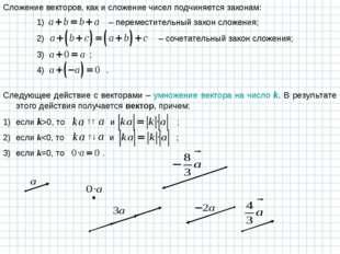 Сложение векторов, как и сложение чисел подчиняется законам: Следующее действ