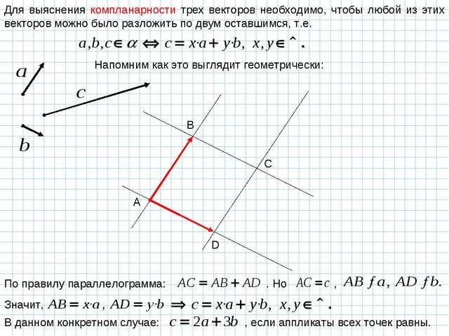 Для выяснения компланарности трех векторов необходимо, чтобы любой из этих ве...