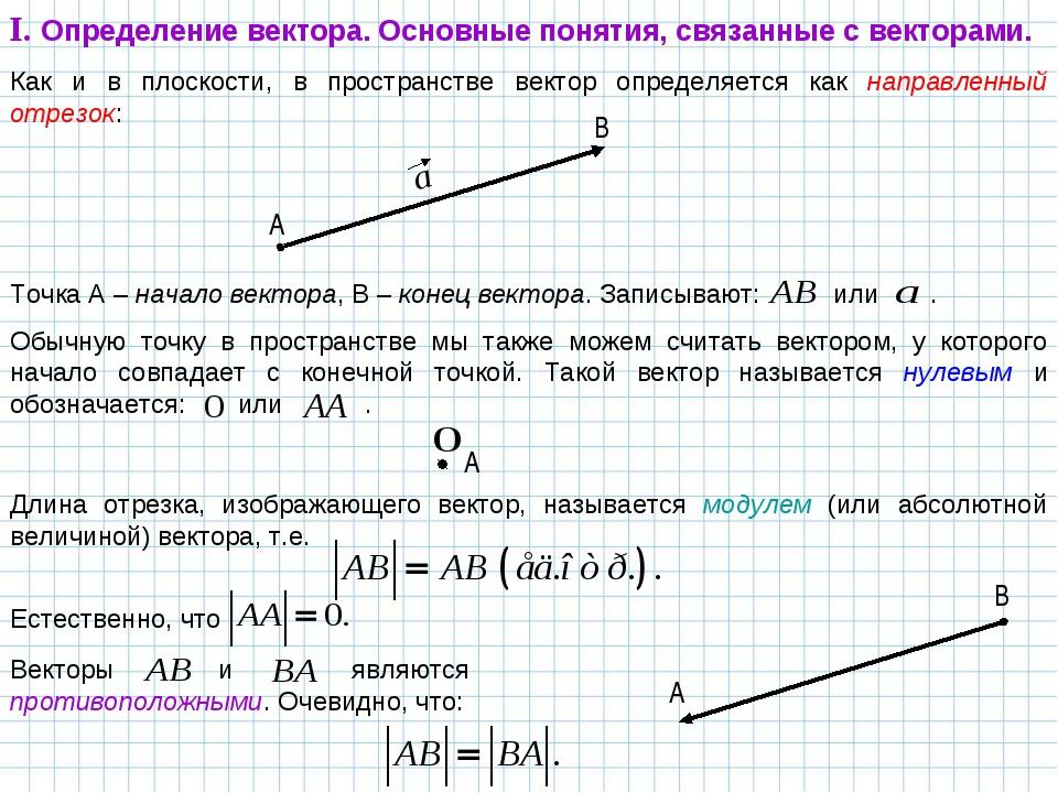 Как и в плоскости, в пространстве вектор определяется как направленный отрезо...