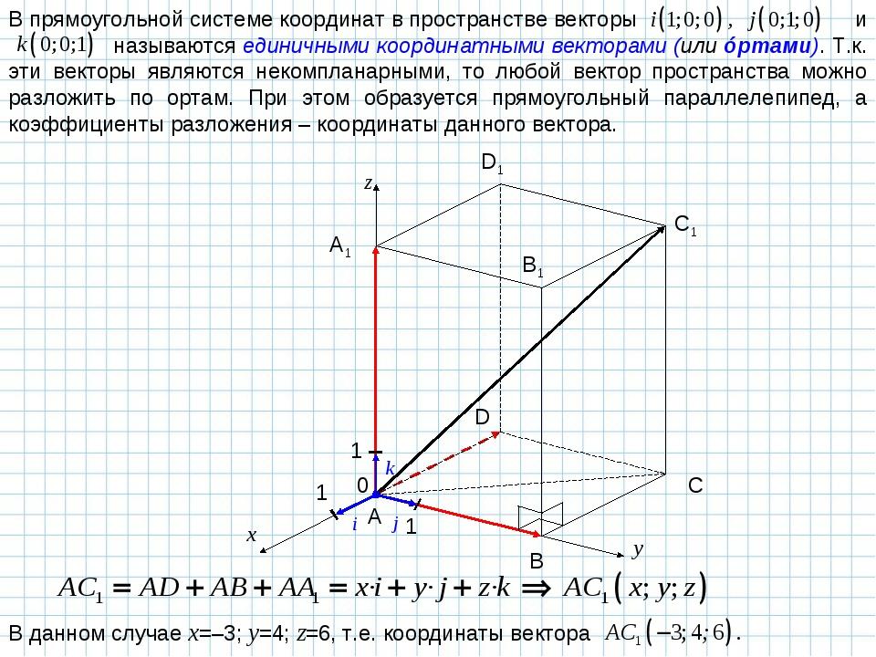 В прямоугольной системе координат в пространстве векторы и  называются едини...