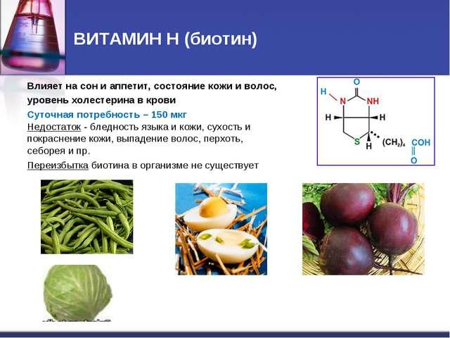 ВИТАМИН Н (биотин) Влияет на сон и аппетит, состояние кожи и волос, уровень х...