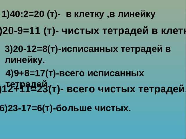 1)40:2=20 (т)- в клетку ,в линейку 2)20-9=11 (т)- чистых тетрадей в клетку....