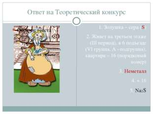 Ответ на Теоретический конкурс 1. Золушка – сера (S) 2. Живет на третьем этаж