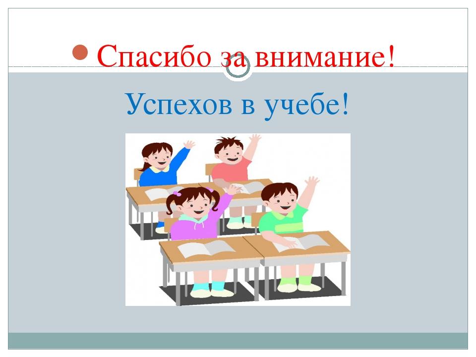 Спасибо за внимание! Успехов в учебе!