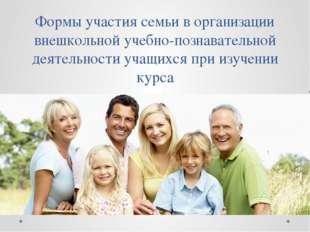 Формы участия семьи в организации внешкольной учебно-познавательной деятельно