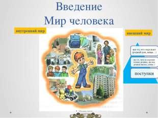 Введение Мир человека «Культура России и родного края» внутренний мир внешний