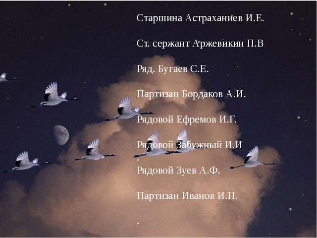 Памяти павших будем достойны Старшина Астраханиев И.Е. Ст. сержант Аржевикин...