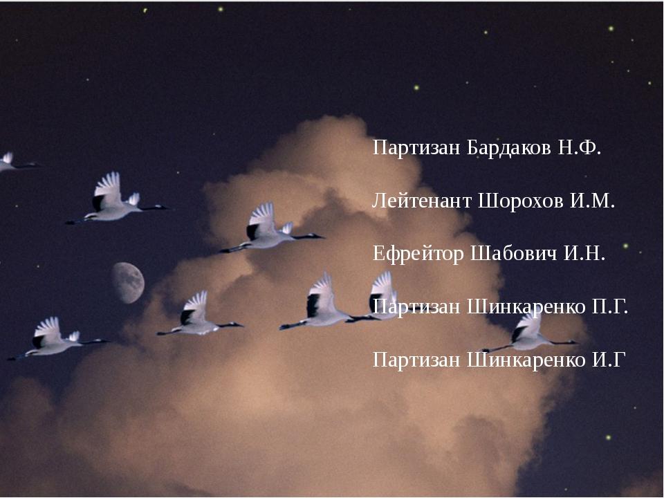 Партизан Бардаков Н.Ф. Лейтенант Шорохов И.М. Ефрейтор Шабович И.Н. Партизан...