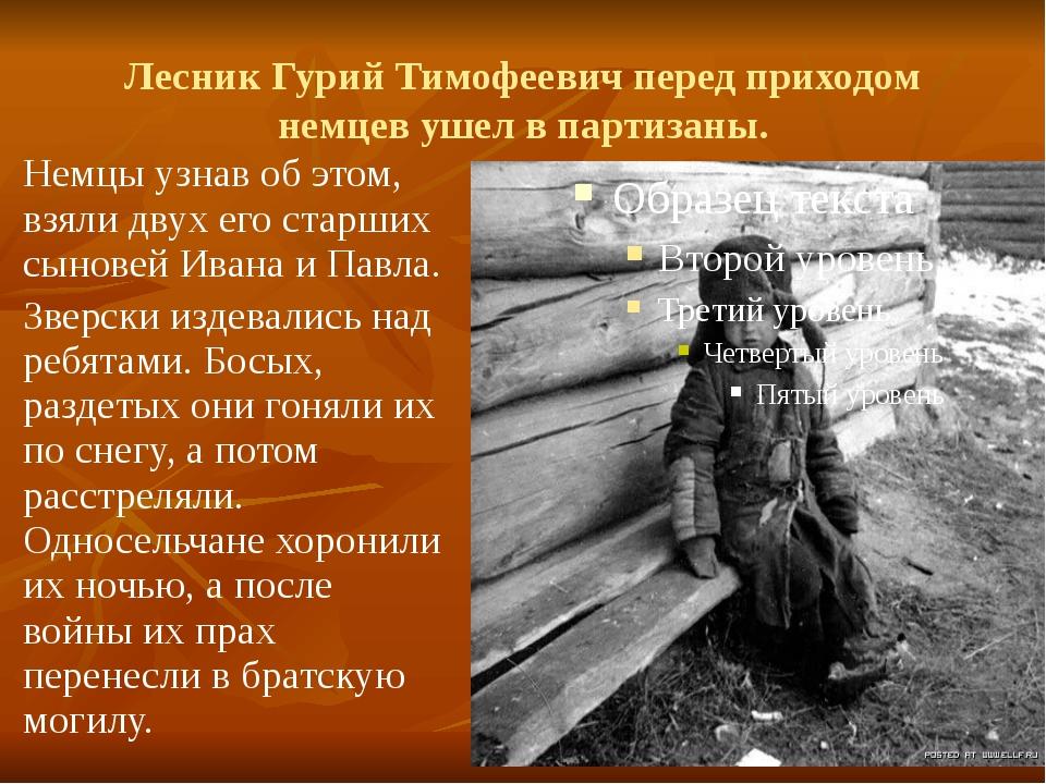 Лесник Гурий Тимофеевич перед приходом немцев ушел в партизаны. Немцы узнав о...