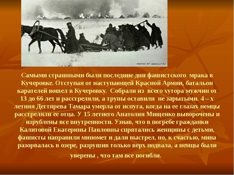 Самыми страшными были последние дни фашистского мрака в Кучеровке. Отступая...
