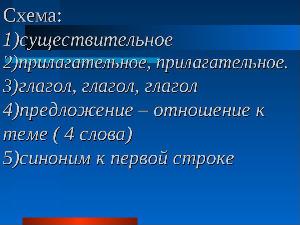 Схема: 1)существительное 2)прилагательное, прилагательное. 3)глагол, глагол,...