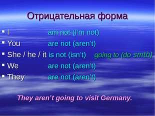 Отрицательная форма Iam not (I'm not) Youare not (aren't) She / he / it
