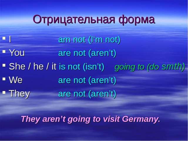 Отрицательная форма Iam not (I'm not) Youare not (aren't) She / he / it...