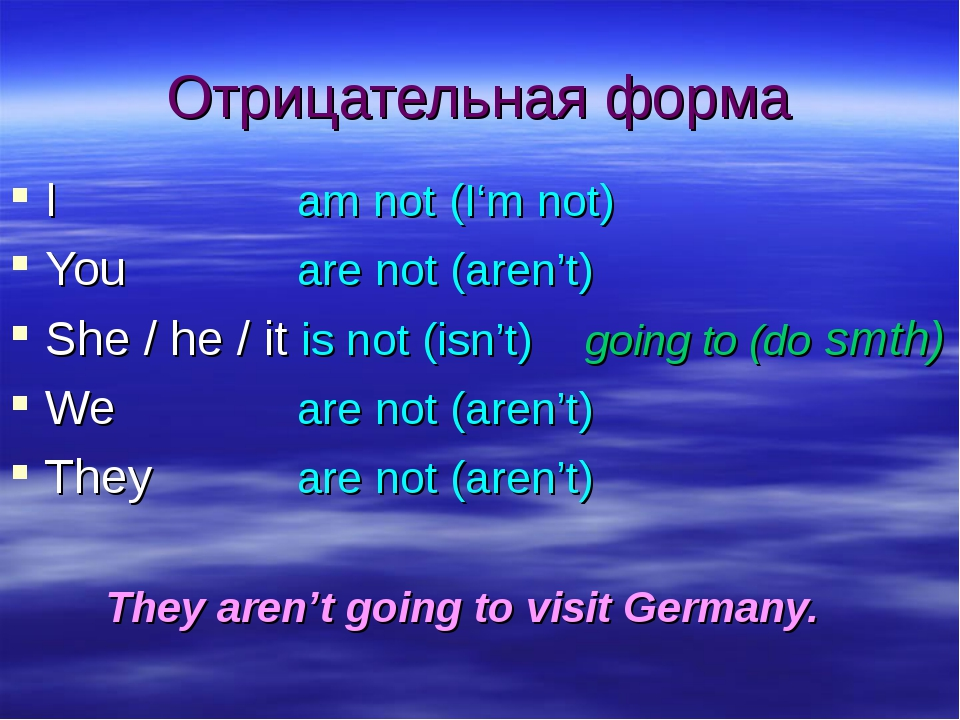 Отрицательная форма I			am not (I'm not) You		are not (aren't) She / he / it...