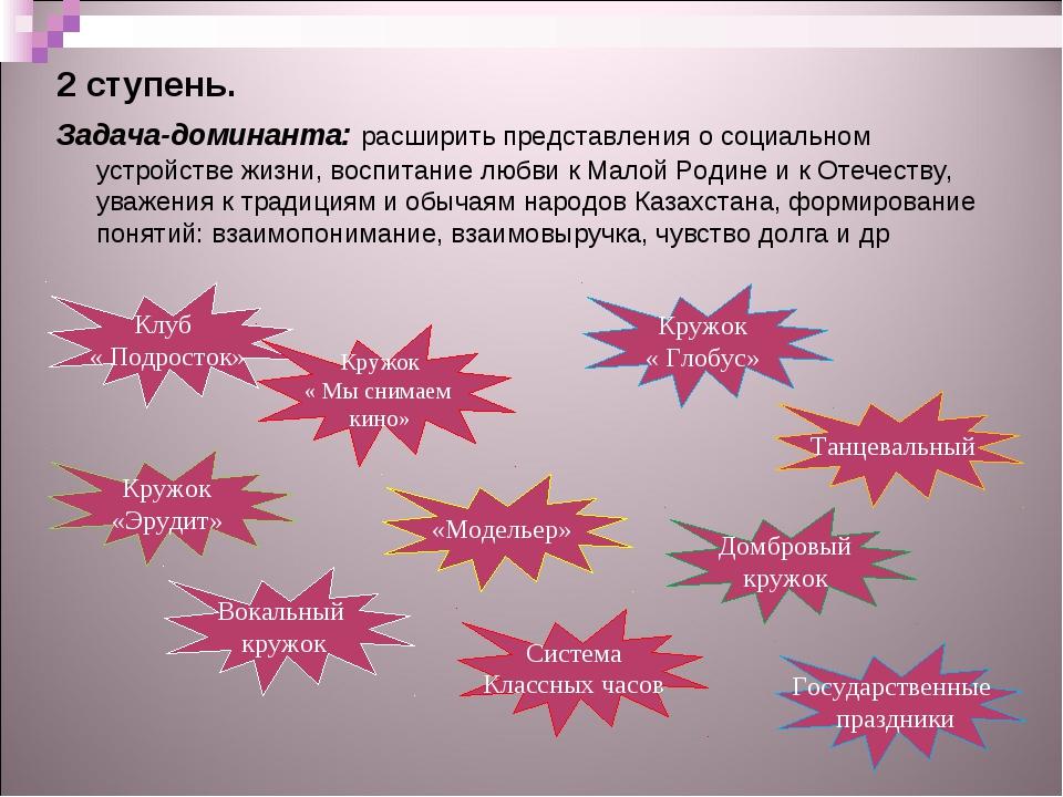 2 ступень. Задача-доминанта: расширить представления о социальном устройстве...