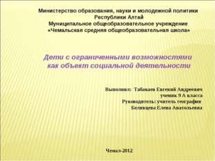 Выполнил: Табакаев Евгений Андреевич ученик 9 А класса Руководитель: учитель