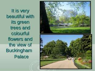 It is very beautiful with its green trees and colourful flowers and the view