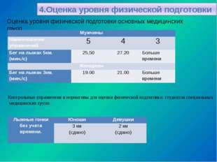 Оценка уровня физической подготовки основных медицинских групп. Контрольные у