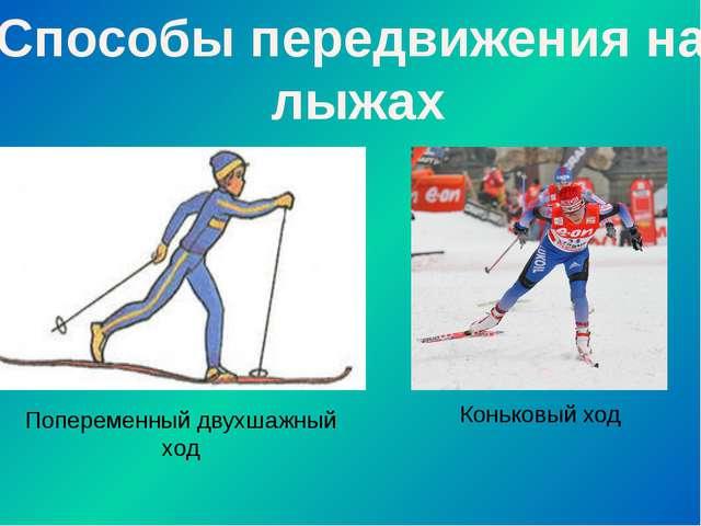 Способы передвижения на лыжах Попеременный двухшажный ход Коньковый ход