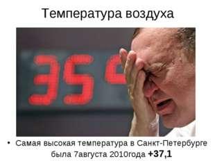 Температура воздуха Самая высокая температура в Санкт-Петербурге была 7август
