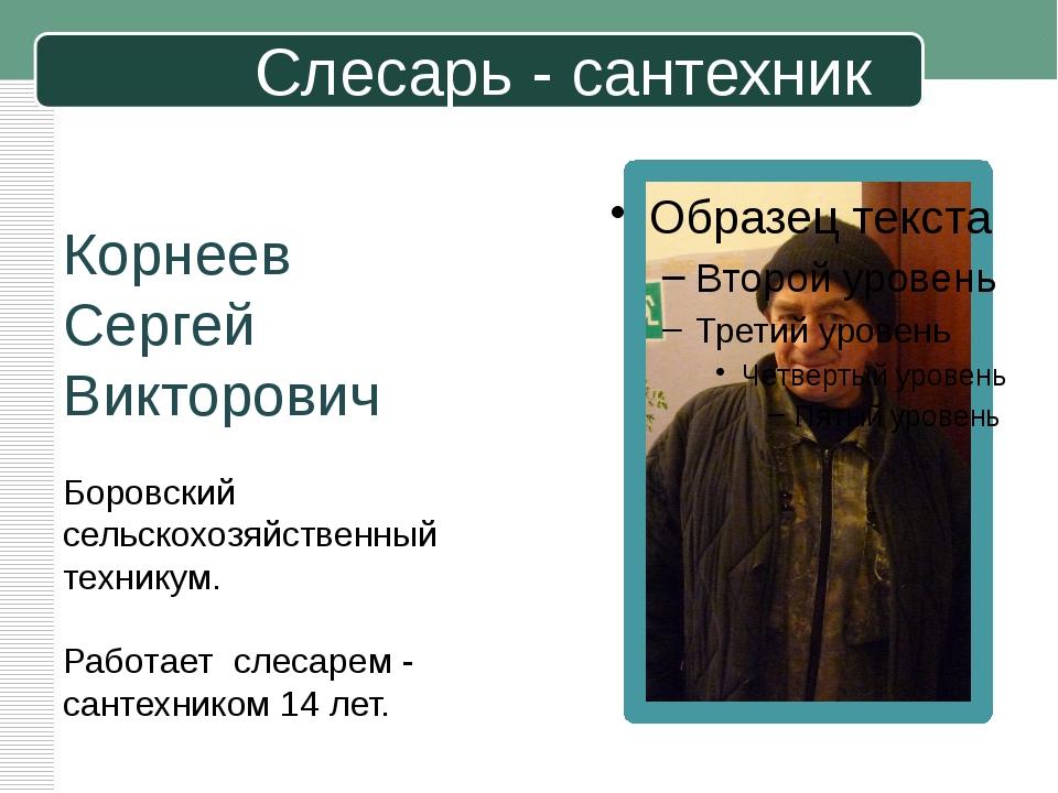 Слесарь - сантехник Корнеев Сергей Викторович Боровский сельскохозяйственный...