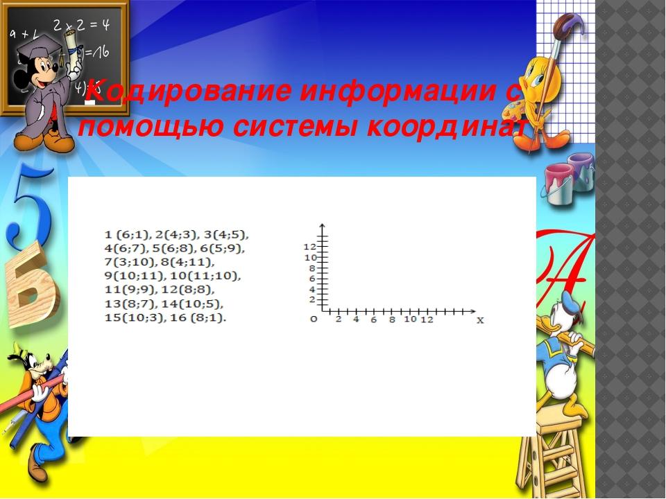 Кодирование информации с помощью системы координат