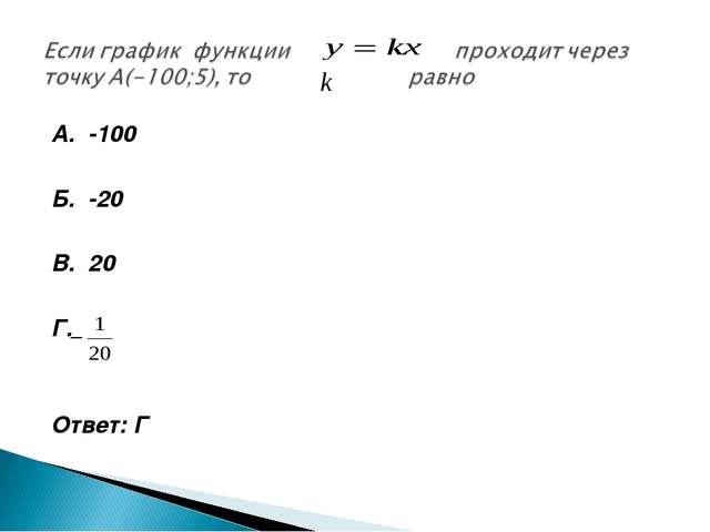А. -100 Б. -20 В. 20 Г. Ответ: Г