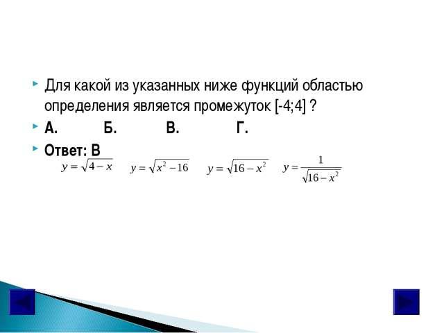 Для какой из указанных ниже функций областью определения является промежуток...