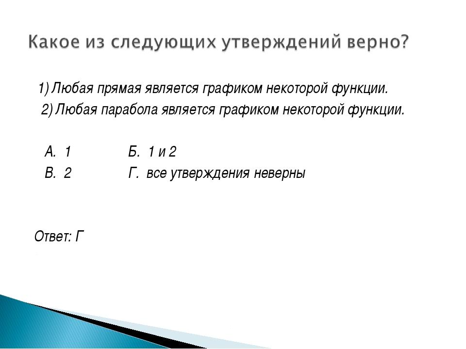 1) Любая прямая является графиком некоторой функции. 2) Любая парабола являе...