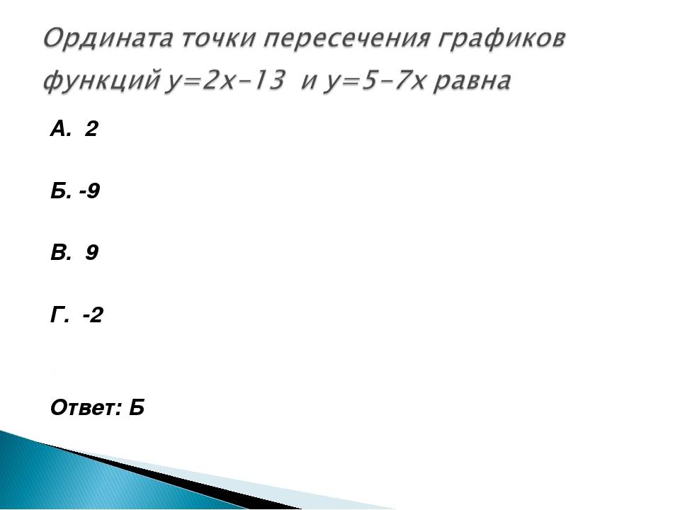 А. 2 Б. -9 В. 9 Г. -2 Ответ: Б