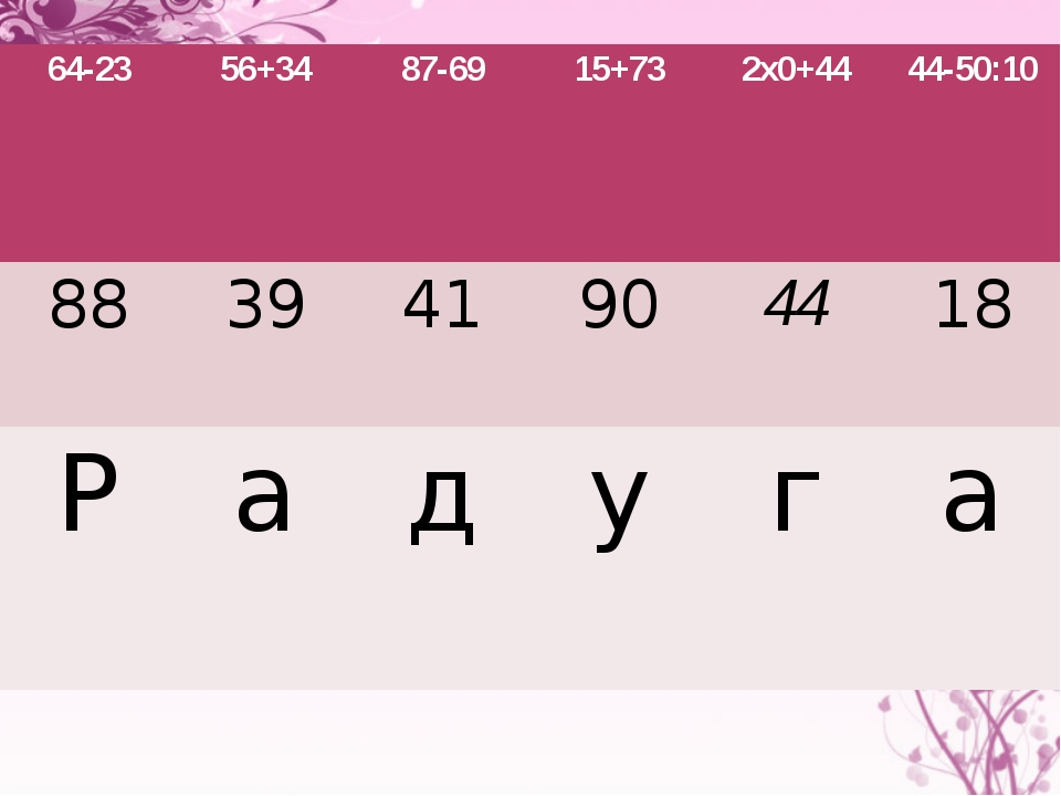 64-23 56+34 87-69 15+73 2х0+44 44-50:10 88 39 41 90 44 18 Р а д у г а