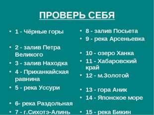 ПРОВЕРЬ СЕБЯ 1 - Чёрные горы 2 - залив Петра Великого 3 - залив Находка 4 - П
