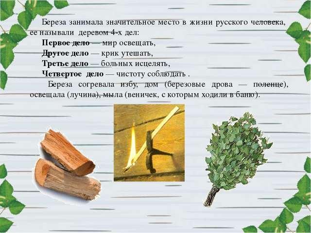 Береза занимала значительное место в жизни русского человека, ее называли дер...