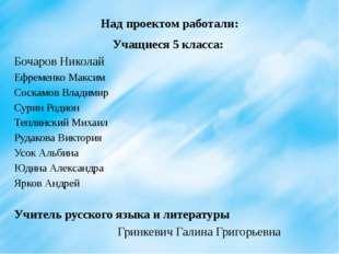 Над проектом работали: Учащиеся 5 класса: Бочаров Николай Ефременко Максим Со