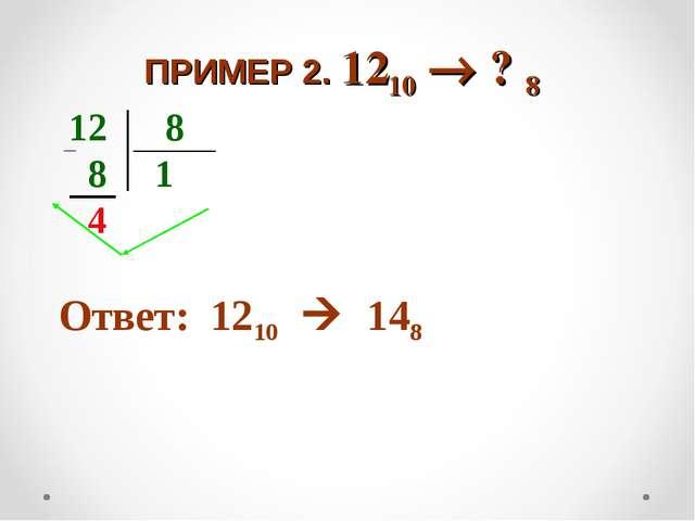ПРИМЕР 2. 1210  ? 8 12 8 8 1 4 Ответ: 1210  148