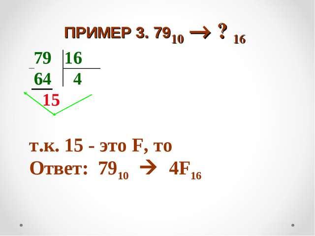 ПРИМЕР 3. 7910  ? 16 79 16 64 4 15 т.к. 15 - это F, то Ответ: 7910  4F16