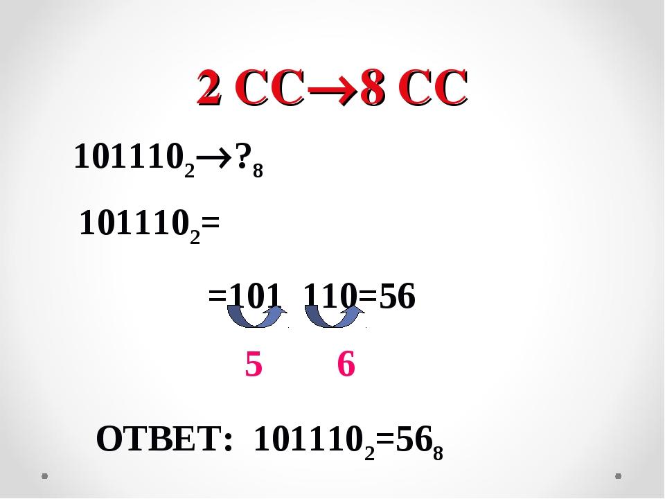 2 СС8 СС 1011102?8 1011102= =101 110=56 5 6 ОТВЕТ: 1011102=568