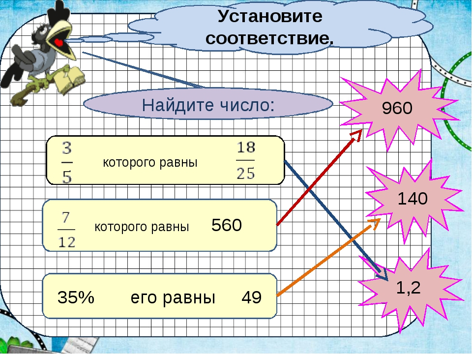 Установите соответствие. 35% его равны 49 которого равны которого равны 560 1...