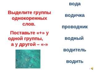 * вода водичка проводник водный водитель водить Выделите группы однокоренных
