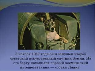 3 ноября 1957 года был запущен второй советский искусственный спутник Земли.