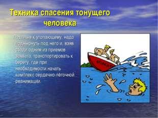 Техника спасения тонущего человека Подплыв к утопающему, надо поднырнуть под