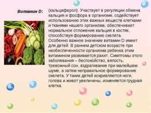 Витамин D: (кальциферол). Участвует в регуляции обмена кальция и фосфора в ор