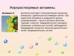 Жирорастворимые витамины. Витамин А: (ретинол) участвует в биохимических проц