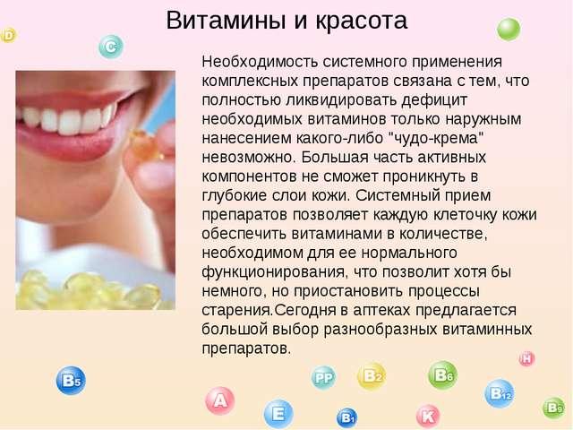 Витамины и красота Необходимость системного применения комплексных препаратов...